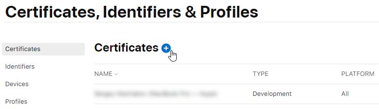 Создание сертификатов App Store